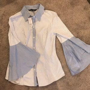 NWT WHBM Button Down Shirt with Bell Sleeves